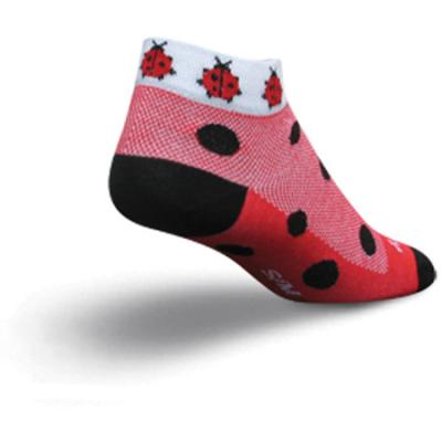 "Sockguy Ladybug 1"" Socks, Womens, Red/black"