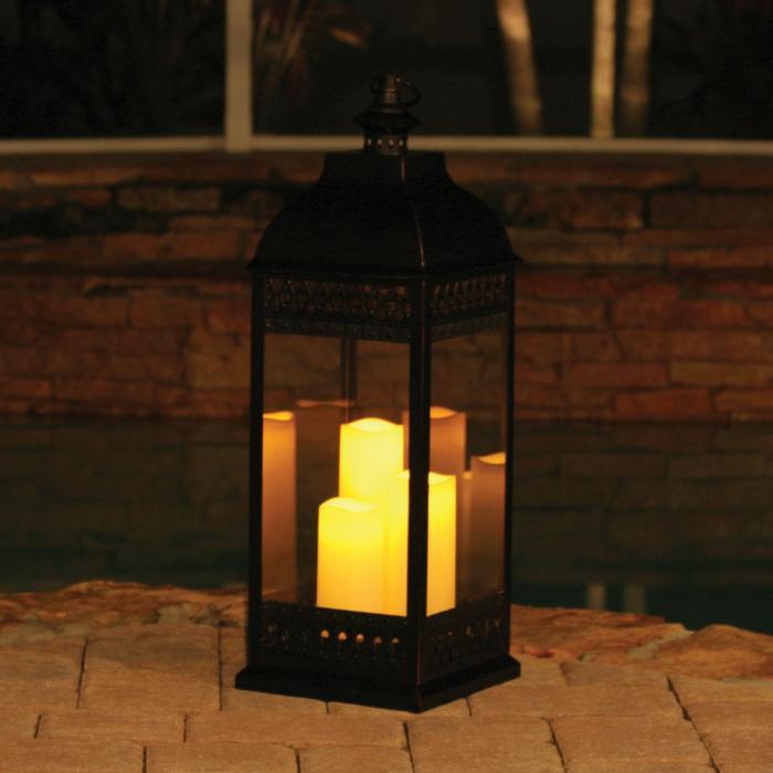 Smart Solar San Nicola Triple LED Candle Lantern, Bronze