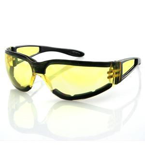 Bobster Action Eyewear Shield II Sunglass, Black Frame, Yellow Lens