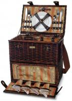Picnic & Beyond Classique Carrier Picnic Basket with BBQ Tools and Service for Four