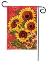 Magnet Works Red Barn Sunflowers Garden Flag