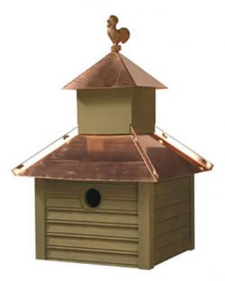 Heartwood Rusty Rooster Birdhouse, Pinion Green with Bright Copper Roof