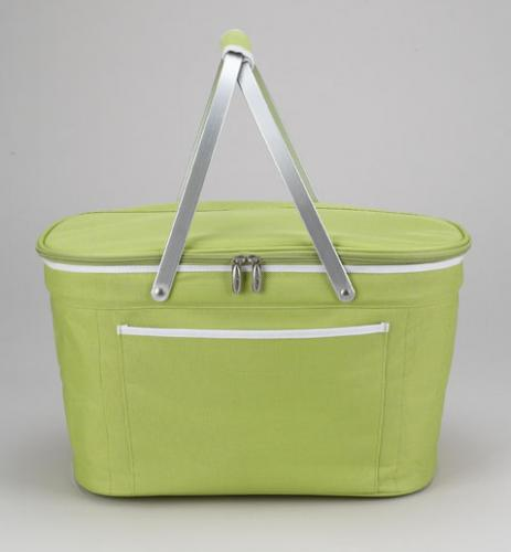 Picnic at Ascot Stylish Insulated Market Basket / Picnic Tote with Sewn in Aluminum Frame - Apple