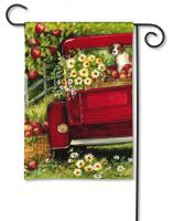 Magnet Works Red Truck Garden Flag