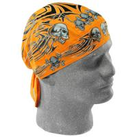 Flydanna 100% Cotton Bandana, Orange Tribal Skull