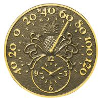 Whitehall Pineapple Thermometer Clock - French Bronze