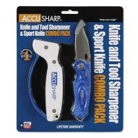 AccuSharp Sharpener & Sport Folding Knife Combo - Blue