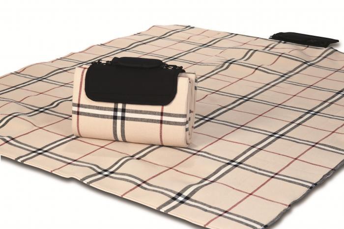 """Mega Mat Folded Picnic Blanket with Shoulder Strap - 68"""" x 82"""" (Beige Traditional)"""