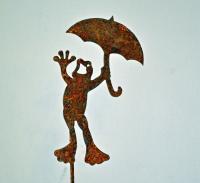 Elegant Garden Design Frog with Umbrella Pick (set of 3)