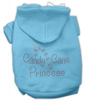 Candy Cane Princess Dog Hoodie Baby Blue/Small