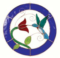 Gift Essentials Small Hummingbird Blue Circle Frame Window Panel