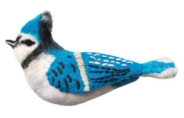 DZI Handmade Designs Blue Jay Woolie Ornament