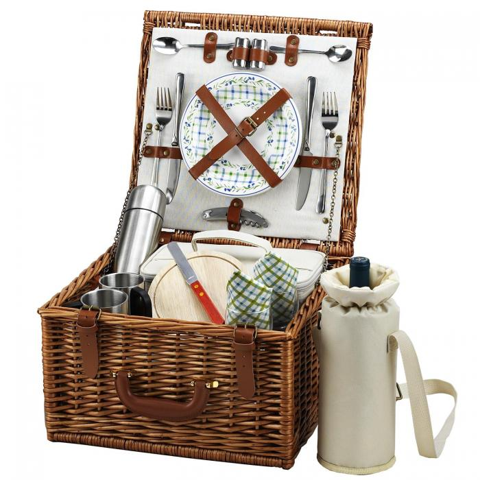 Picnic at Ascot Cheshire English-Style Willow Picnic Basket with Service for 2 and Coffee Set - London Plaid