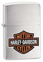 Zippo Harley Davidson Color Logo on Brushed Chrome