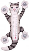 Songbird Essentials Climbing Grey Tabby Cat Large Window Thermometer