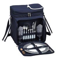 Picnic at Ascot Insulated Picnic Basket/Cooler Fully Equipped with Service for 2 - Navy/White