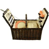 Picnic at Ascot Surrey Willow Picnic Basket with Service for 2 - Diamond Orange, 713-DO