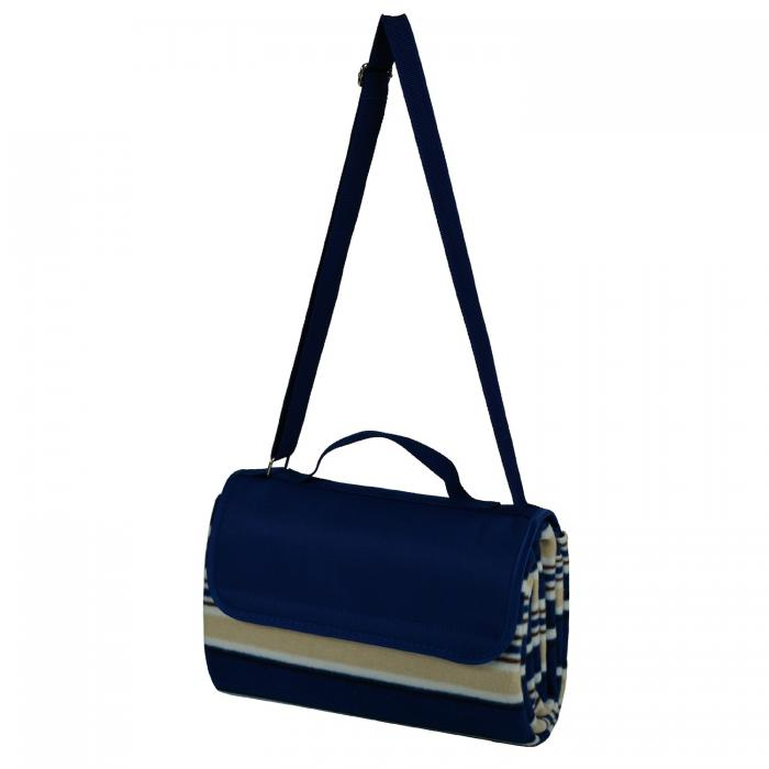Picnic at Ascot Picnic Blanket Tote, Blue Stripe Fleece