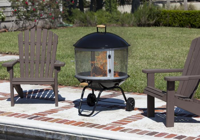 "28"" Bon Fire  Patio Fireplace, Porcelain Enamel Top & Bottom"