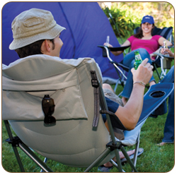 Picnic Time Reclining Camp Chair Black And Gray