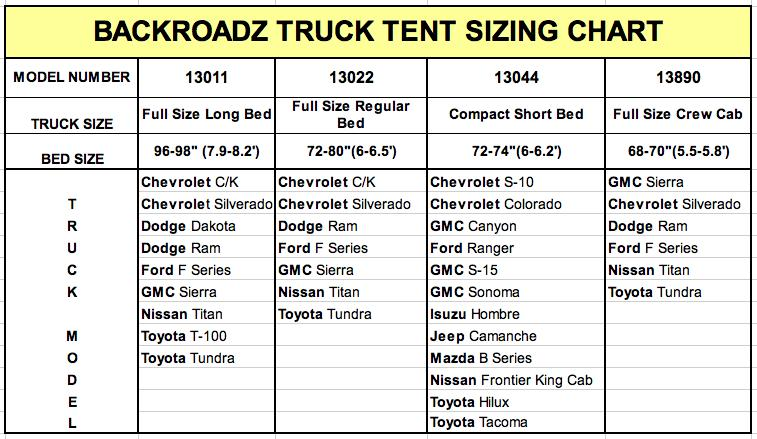 Outdoors Backroadz #13 Full Size Long Box Truck Tent, 8Ft.