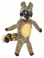DZI Handmade Designs Raccoon Woolie Fingerpuppet Ornament