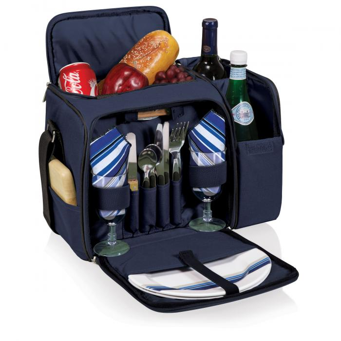 Picnic Time Malibu Shoulder Pack w/ Deluxe Picnic Service for 2, Navy