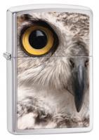 Zippo Owl Face Brushed Chrome Zippo Lighter