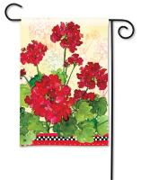Magnet Works Geraniums & Checks Garden Flag