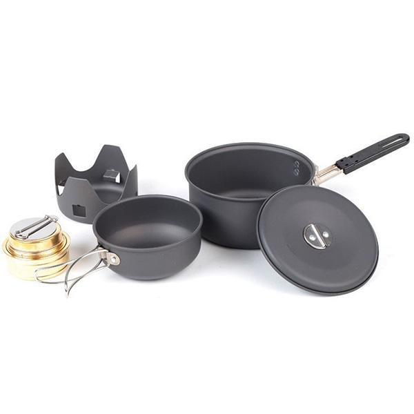 NDuR Mini Cookware Kit /Alcohol Burner, Anodized Aluminum