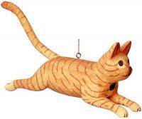 Bobbo Cat Orange Striped Leaping Birdhouse