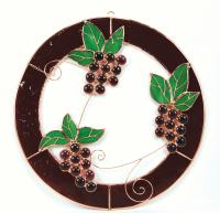 Gift Essentials Large Grape Bunch Trifecta Circle Window Panel