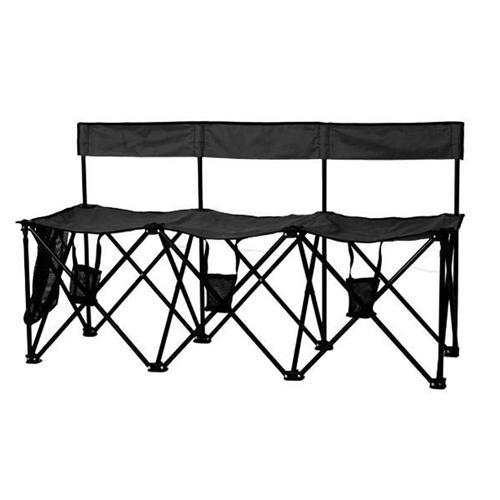 Travel Chair Travel Bench El Grande 3 Seat, Black