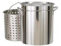 Bayou Classic 24 Quart Stainless Steel Steam/Boil/Fry Pot with Lid and Basket
