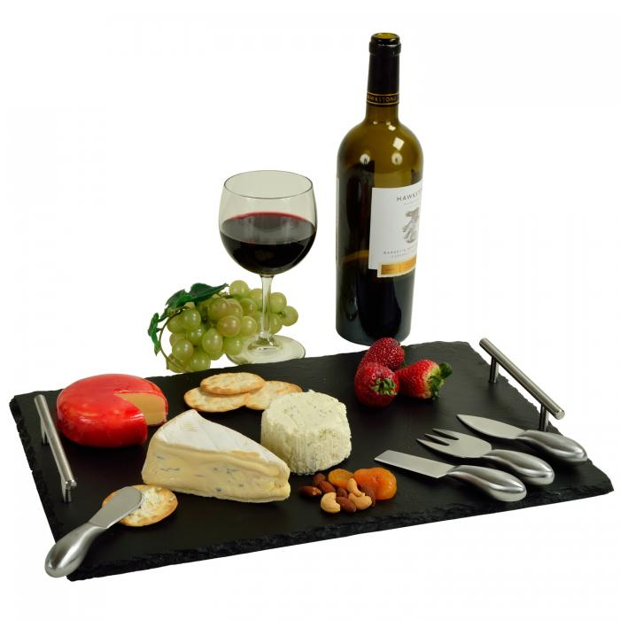 Picnic at Ascot Sardo Slate Cheese Board with 4 Tools and Soapstone Chalk