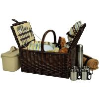 Picnic at Ascot Buckingham Willow Picnic Basket with Service for 4 with Blanket and Coffee Service - Santa Cruz