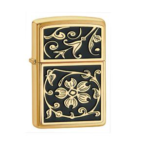 Zippo Gold Floral Flush Emblem,