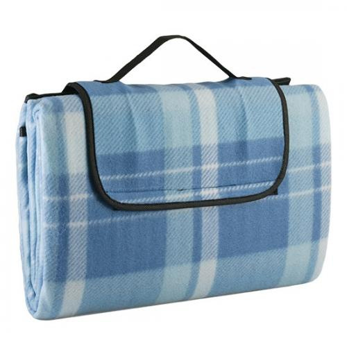 "Picnic & Beyond Light Blue Fold-able  Fleece Picnic Blanket, 59"" x 79"""