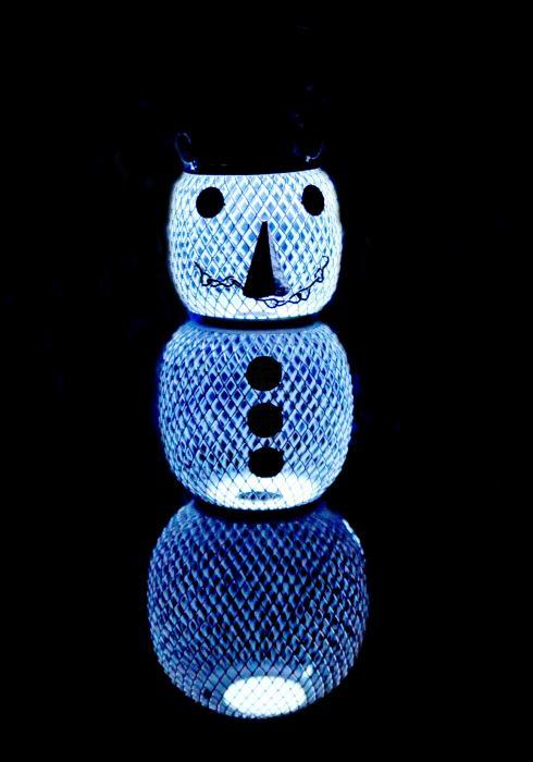 No-No Feeder Solar Snowman Mesh Bird Feeder