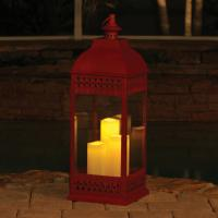 Smart Solar San Nicola Triple LED Candle Lantern, Red