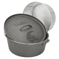 Bayou Classic 16-Quart Cast Iron Dutch Oven with Lid and Perforated Aluminum Basket