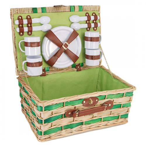 Picnic and Beyond Willow Picnic Basket for 4, Honey & Green