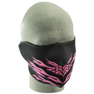Cold Weather Headwear Neoprene 1/2 Face Mask, Pink Flames