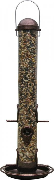 """Pinebush Metal 18"""" Tube Bird Feeder with Tray, Antique Copper"""
