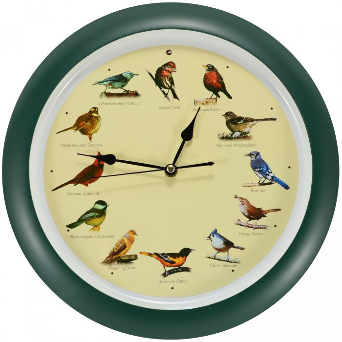 "Mark Feldstein 13"" Green Singing Bird Clock"