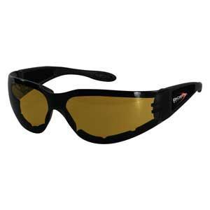 Bobster Action Eyewear Shield II Sunglass, Black Frame, Amber Lens