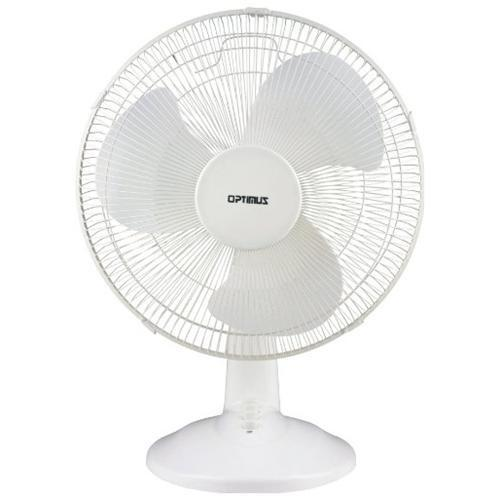Optimus 12 Inch White Oscillating 3 Speed Table Fan