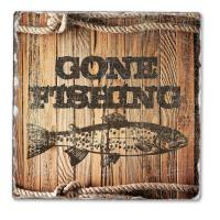 Counter Art Gone Fishing Single Tumbled Tile Coaster