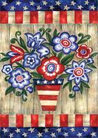 Toland Patriotic Flowers Garden Flag