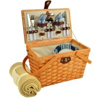 Picnic at Ascot Frisco Traditional American Style Picnic Basket for 2 w/ Blanket -Blue Stripe